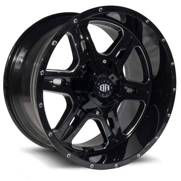 Black Rock Stroke gloss black milled wheel