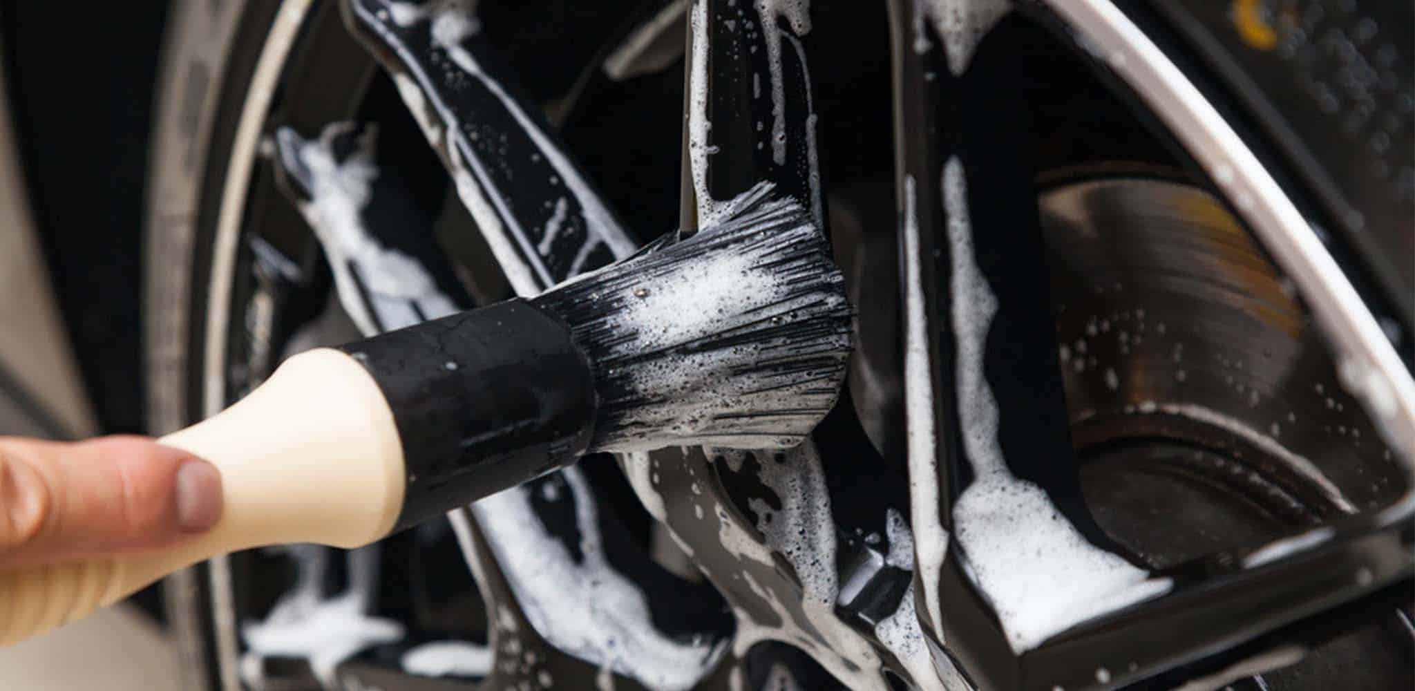 cleaning alloy wheels with brush