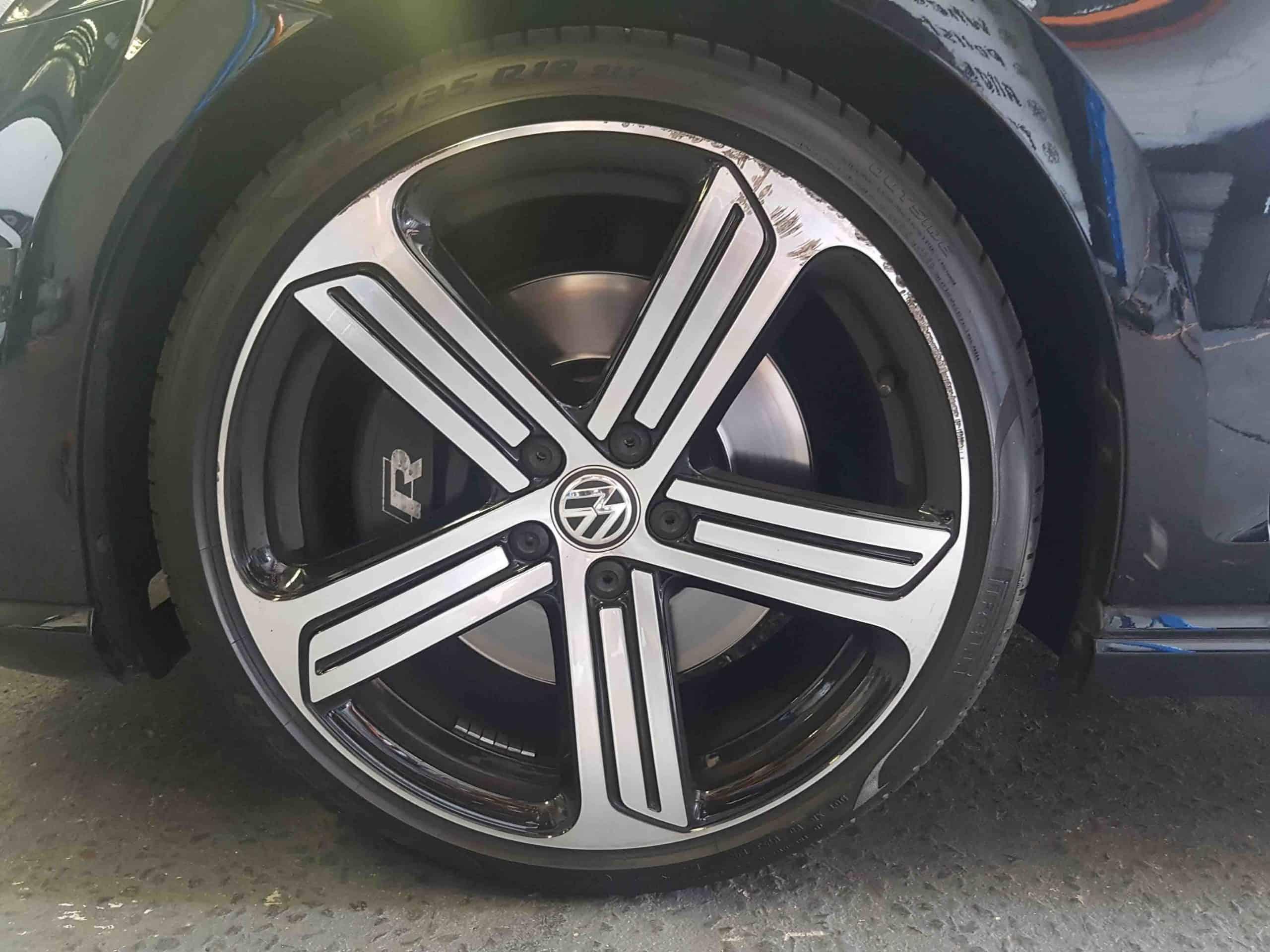 VW Golf GTI wheel repair before