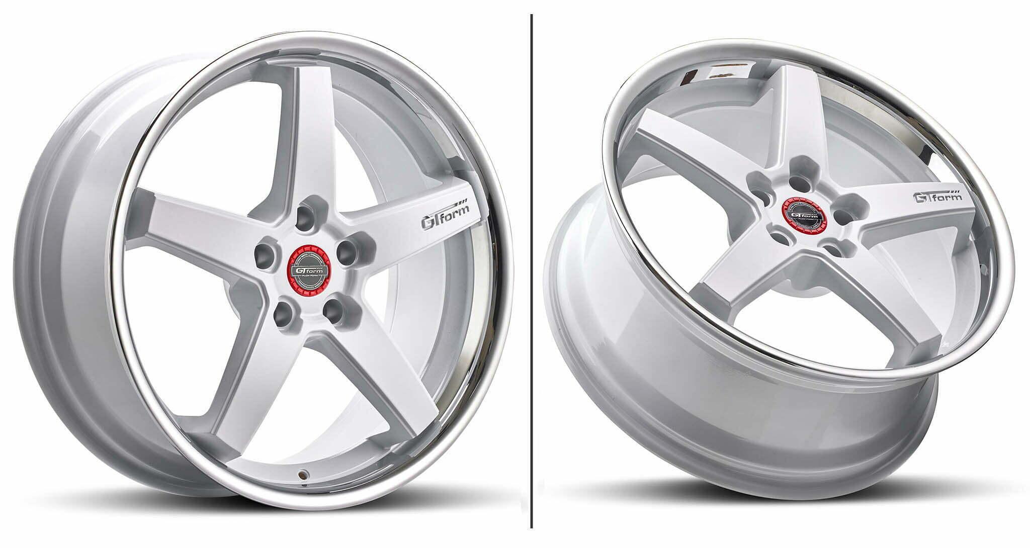GT Form Legacy Gloss White Chrome Lip Wheel Performance Rim
