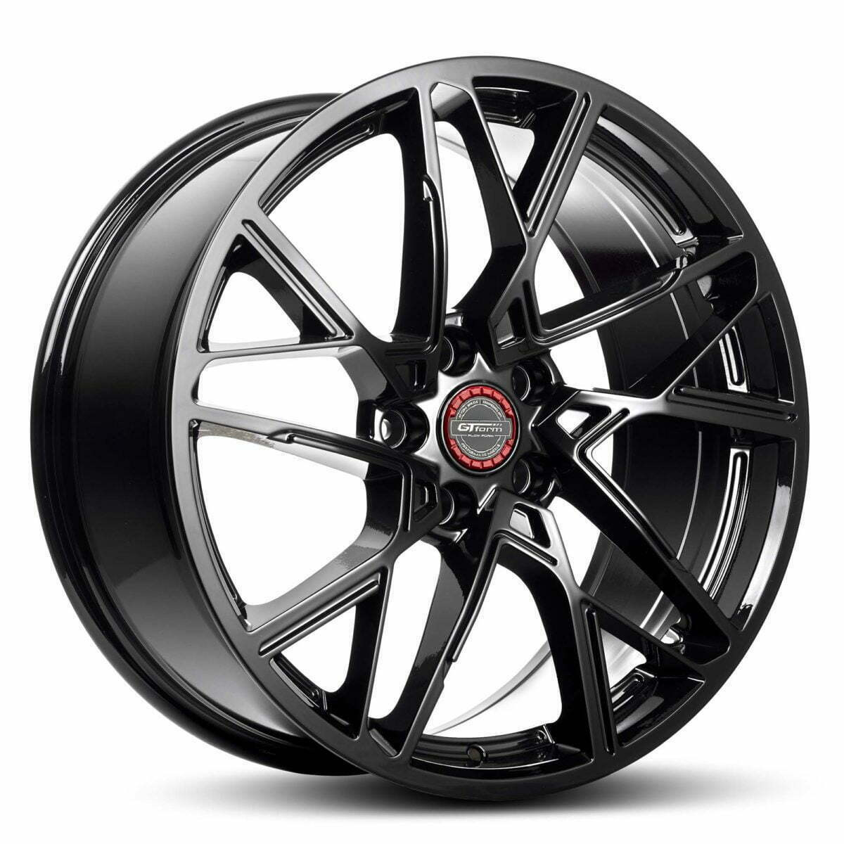 GT form Interflow Gloss Black Wheels Red Centre Cap Performance Rims