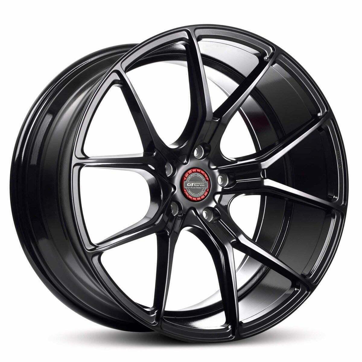 GT form Venom Gloss Black Wheels With Red Centre Cap Performance Rims