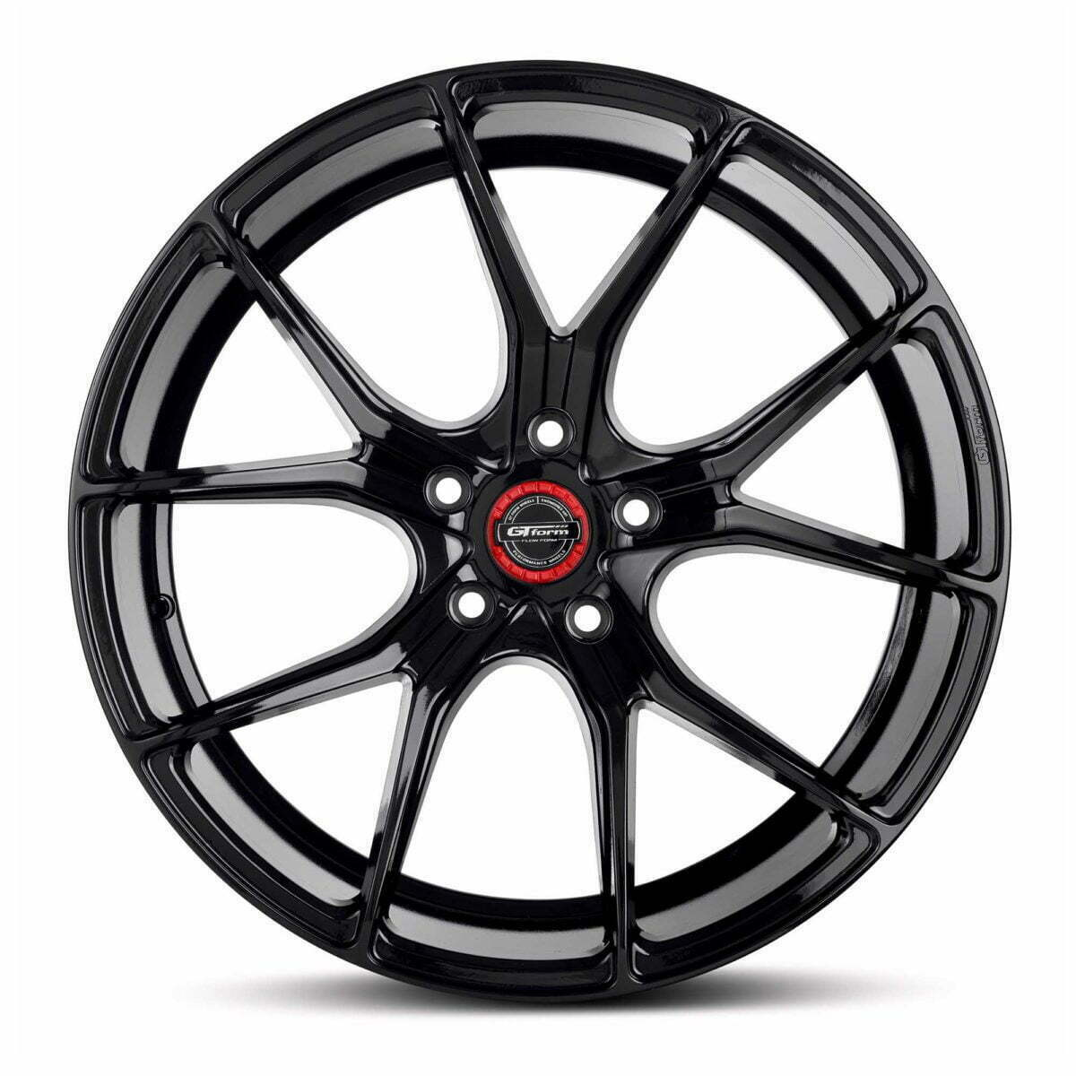 GT form Venom Gloss Black Wheels With Red Centre Cap Performance Rims