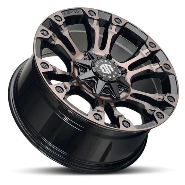 Black Rock Forcer Gloss Black Bronze Tint Wheel 4x4 Rim for 6 stud trucks