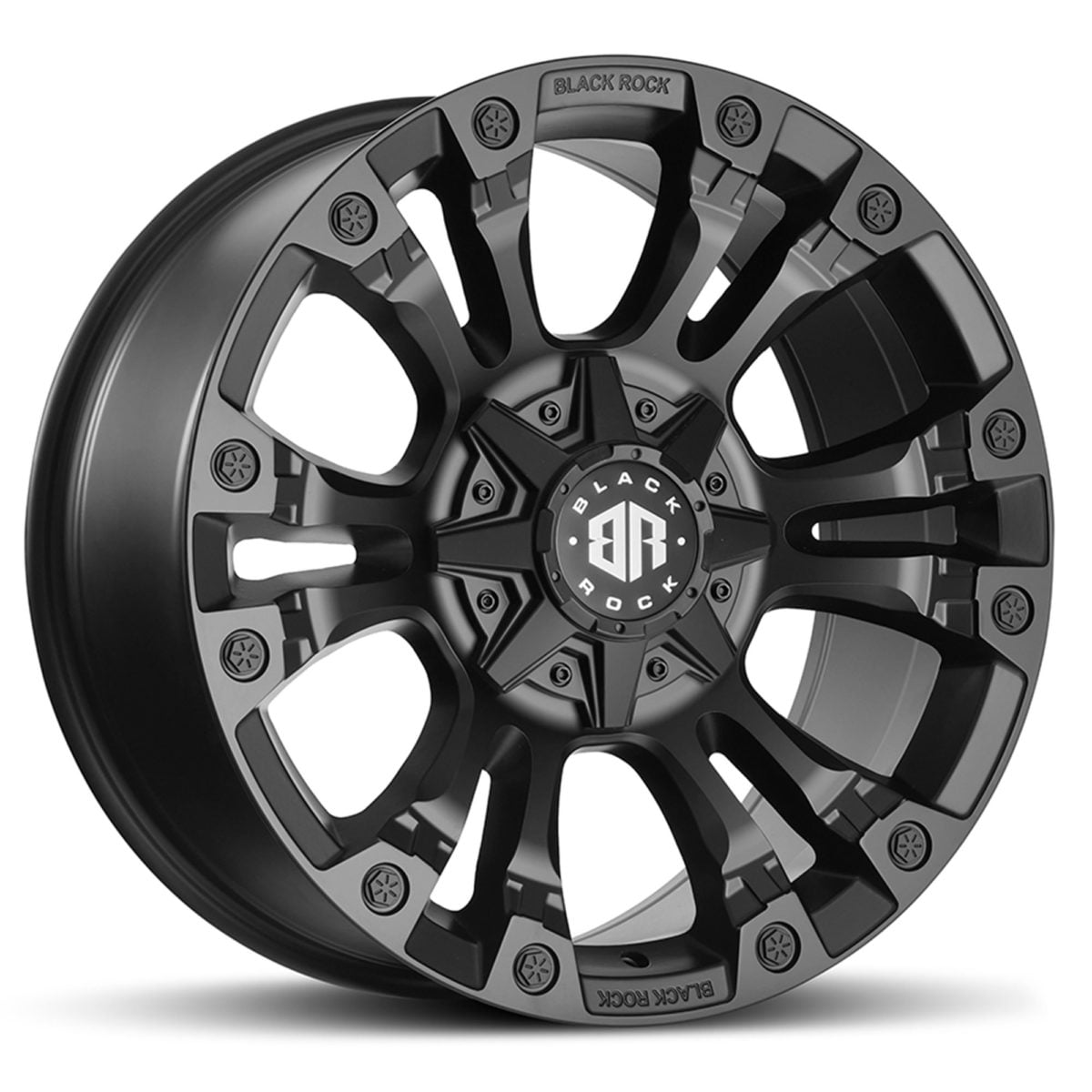 Black Rock Forcer Satin Black Wheel 4x4 Rim for 6 stud trucks