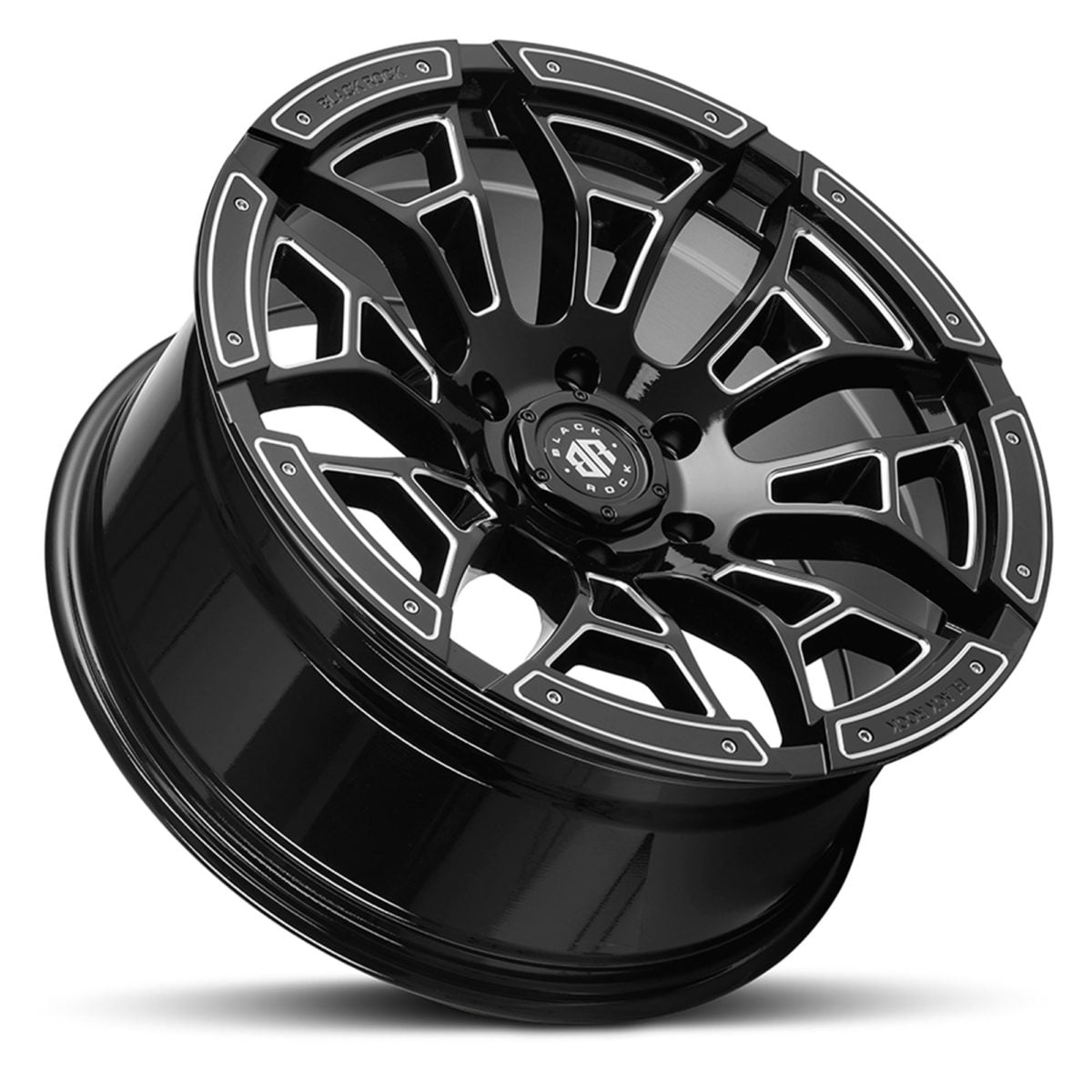 Black Rock Widow Gloss Black Milled Wheel 4x4 Rim for 6 stud trucks