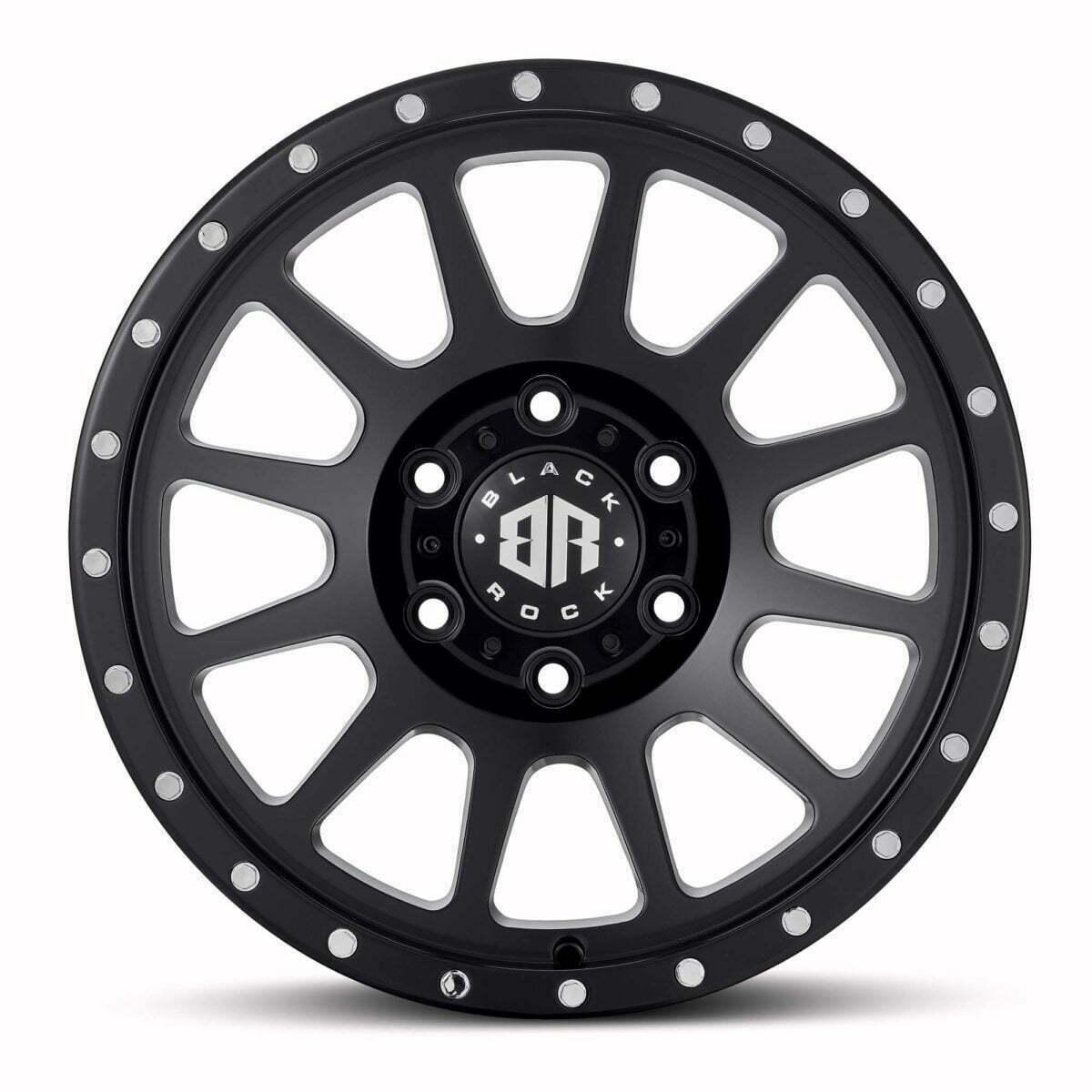 Black Rock Omega Satin Black 17x9 Wheels 4x4 Rims