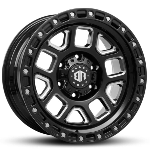 Black Rock Trap Gloss Black Milled 17x9 4x4 Rims