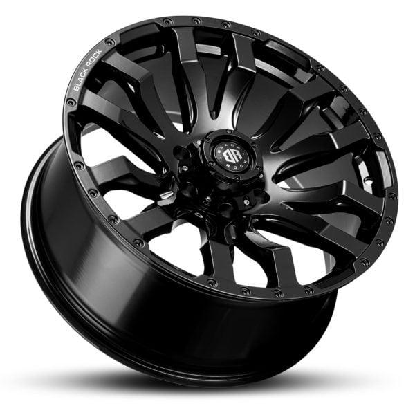 Black Rock Vulcan Gloss Black 20x9 4x4 Rims