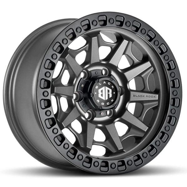 4x4 Rims Black Rock Cage Gunmetal Grey With Black Ring Wheel