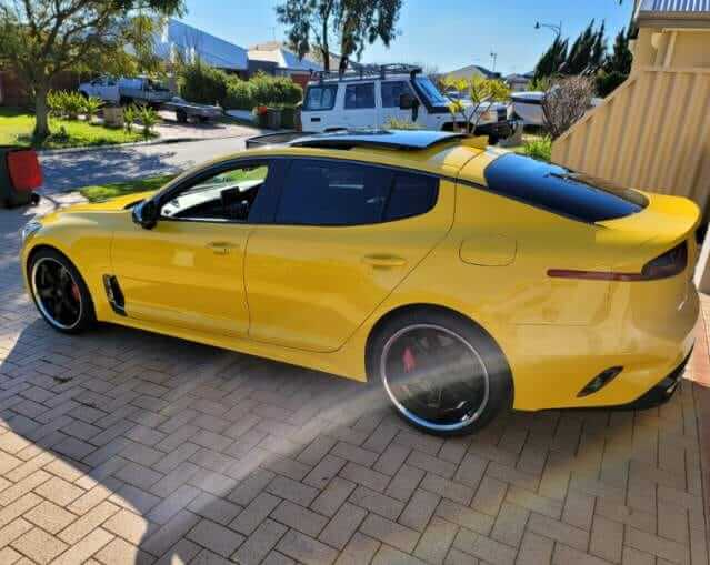 """20"""" staggered GT Form Legacy Gloss Black Chrome Lip wheels with Pirelli Dragon Sport Tyres on his Kia Stinger GT"""