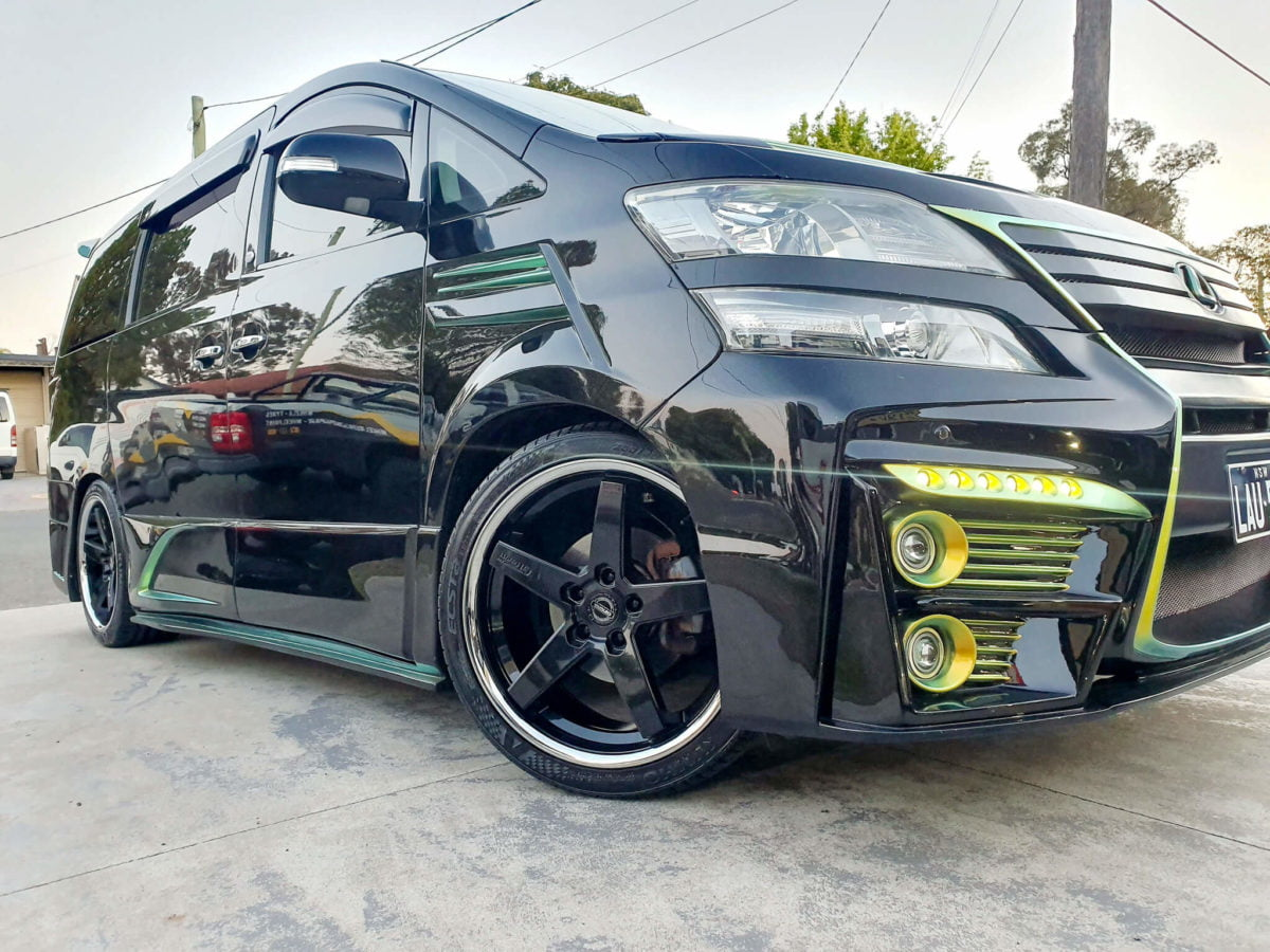 Toyota Vellfire sitting on GT Form Legacy Gloss Black Chrome Lip 20x8.5 front and 20x10 rear wheels wrapped with Kumho Ecsta PS71 tyres