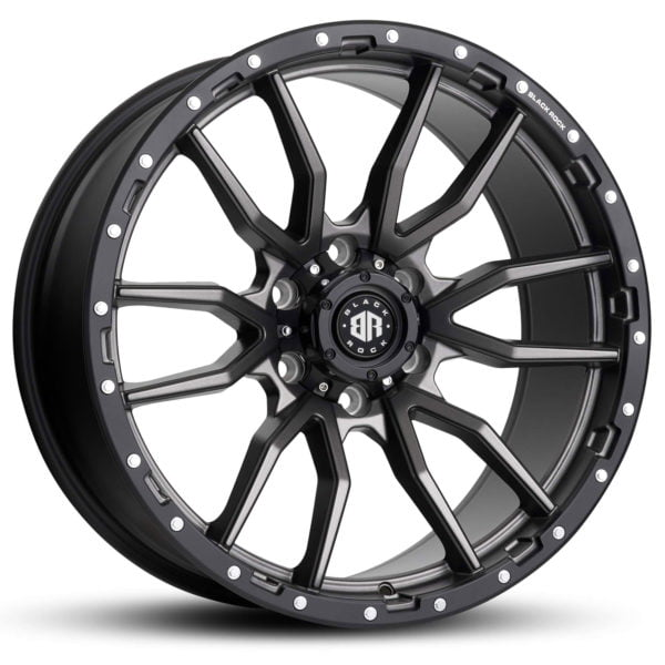 Black Rock Rambler Gunmetal Grey With Black Ring Wheels 4x4 Rims